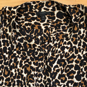 Jcrew Silk Leopard Print Shirt Blouse 4P